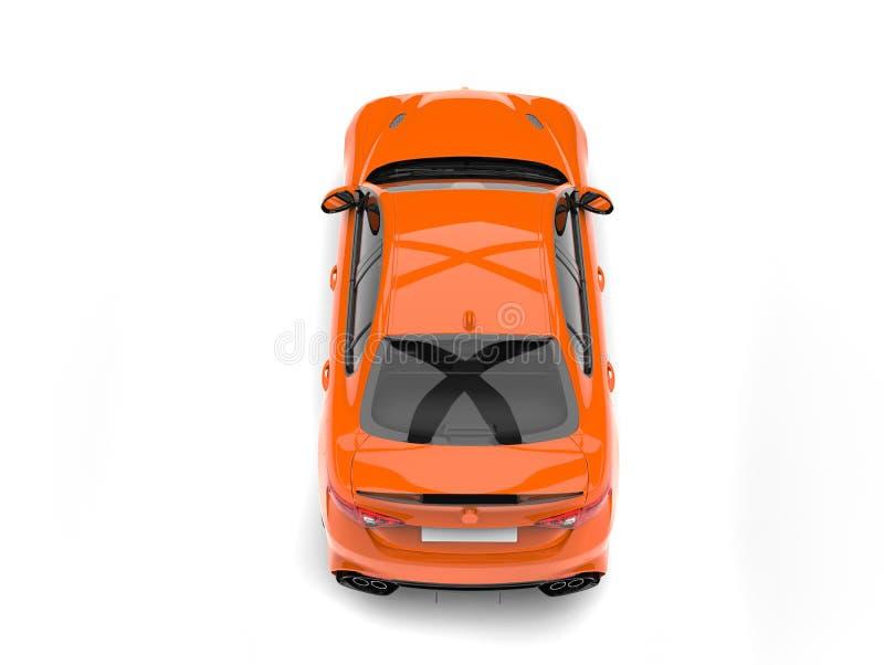 Le dessus automobile rapide moderne orange regardent vers le bas illustration libre de droits