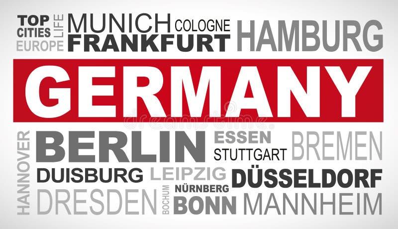 Le dessus de l'Allemagne et la plupart des noms célèbres de ville expriment l'illustration de nuage illustration libre de droits