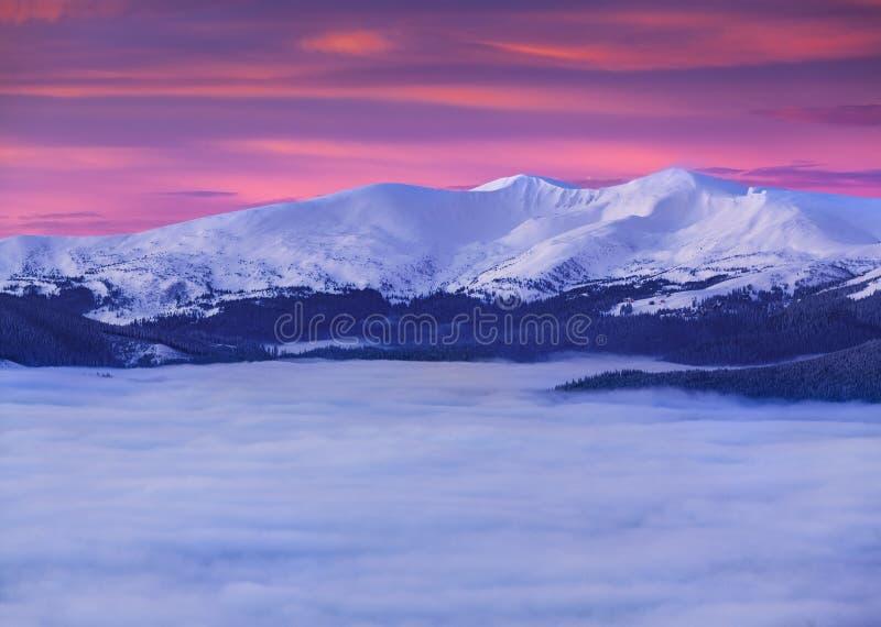 Le dessus des montagnes parmi une mer de brouillard image stock