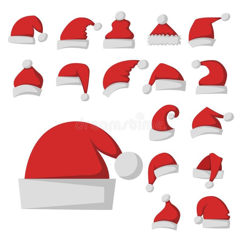 Le dessus moderne de vacances de Noël d'hiver de chapeau d'élégance de chapeau rouge de mode du père noël vêtx l'illustration de  illustration de vecteur