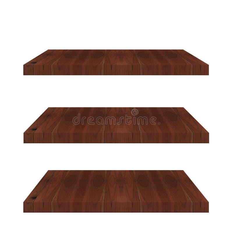 Le dessus 3 vide du compteur en bois d'étagère a isolé illustration de vecteur
