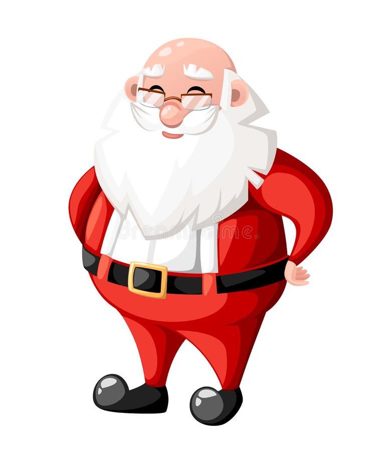 Le det jultecknad filmSanta Claus teckenet utan illustrationen för tecken för hatthattferie som isoleras på vit bakgrund stock illustrationer