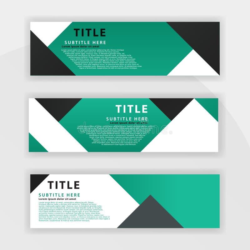Le deuxième ensemble de bannière est couleur vert-foncé, approprié aux sociétés professionnelles a conçu pour être en ligne comme illustration de vecteur