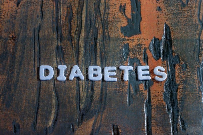 Le diabète de mot écrit dans les caractères gras blancs image libre de droits