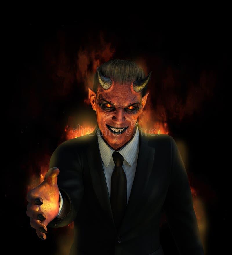 Le diable offre un enfer de beaucoup illustration stock