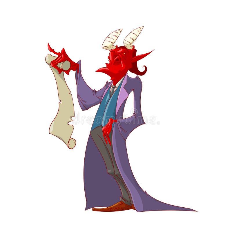 Le diable tenant un contrat d'âme illustration libre de droits