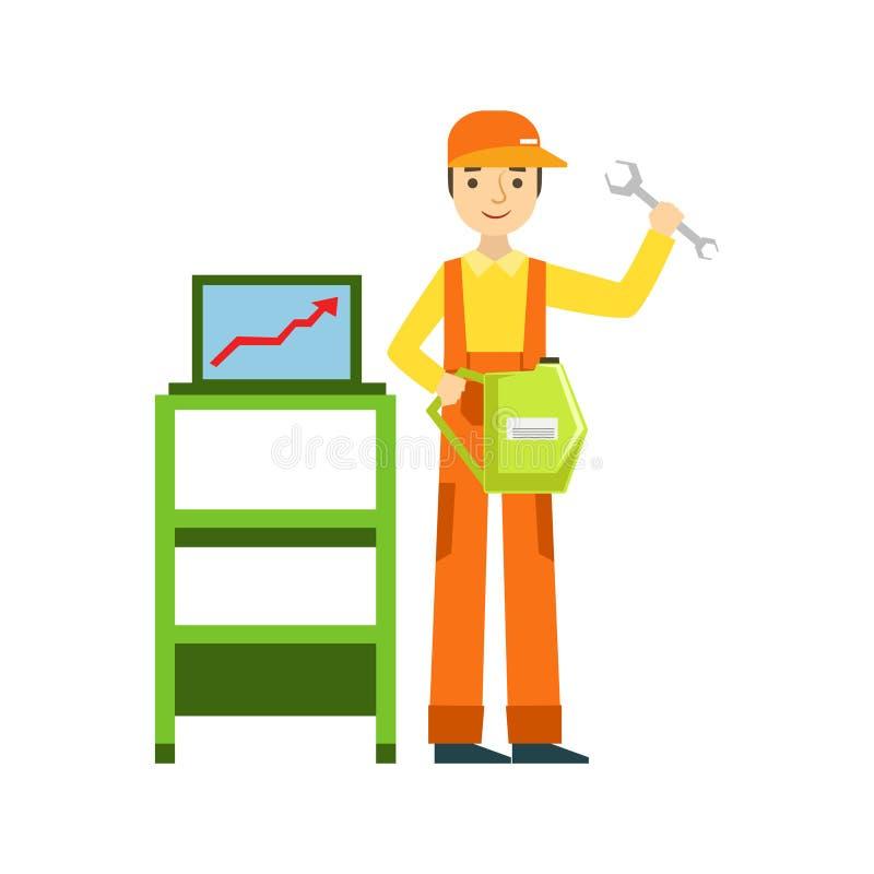 Le diagnostik för mekanikerWith Wrench And dator i garaget, illustration för service för bilreparationsseminarium vektor illustrationer