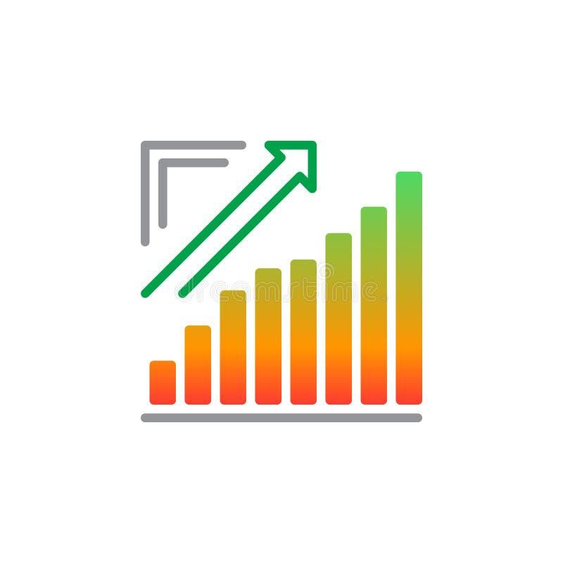 Le diagramme croissant, graphique de flèche allant vecteur d'icône, a rempli signe plat, pictogramme coloré solide d'isolement su illustration stock