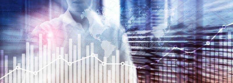 Le diagramme de graphique de croissance de finances d'affaires analysant le commerce de diagramme et exposition de concept d'?cha illustration libre de droits