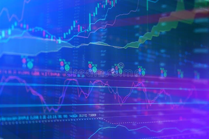 Le diagramme de marché boursier, données de marché boursier dans le bleu sur l'affichage à LED escroquent illustration de vecteur