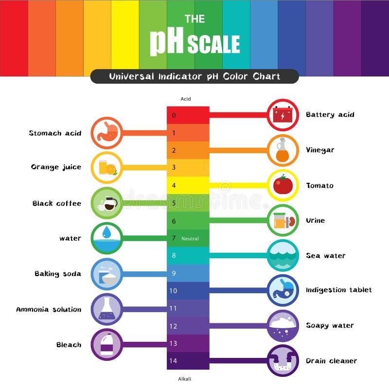 Le diagramme universel de nuancier de l'indicateur pH d'échelle de pH illustration libre de droits
