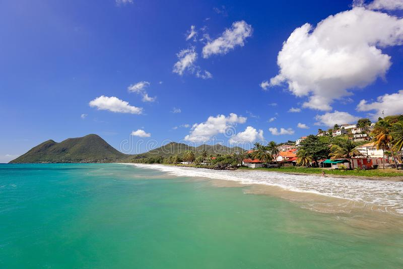 Le Diamant Beach 美好的海滩场面在马提尼克岛,法国国外部门 库存照片