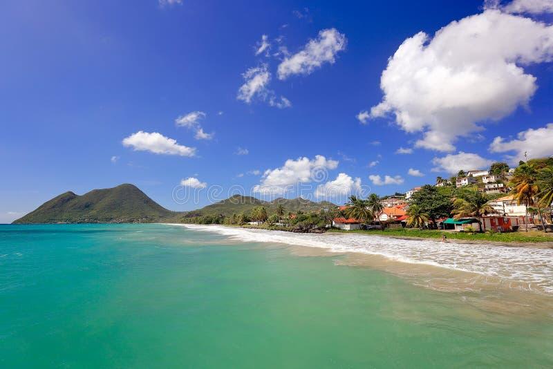 Le Diamant Beach Belle sc?ne de plage Martinique, d?partement d'outre-mer fran?ais photo stock