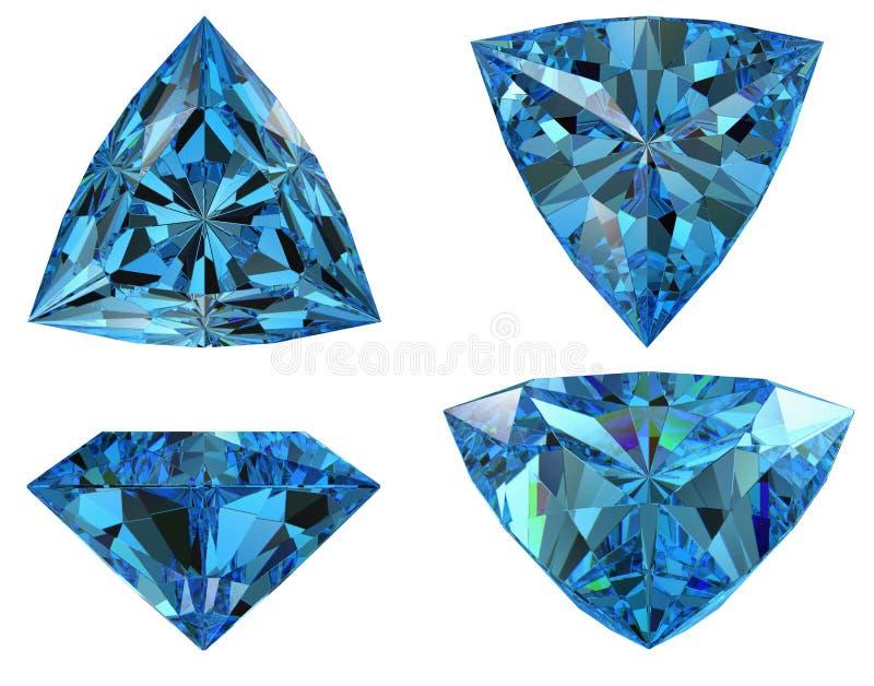 Le diamant bleu de forme de triangle a isolé illustration stock