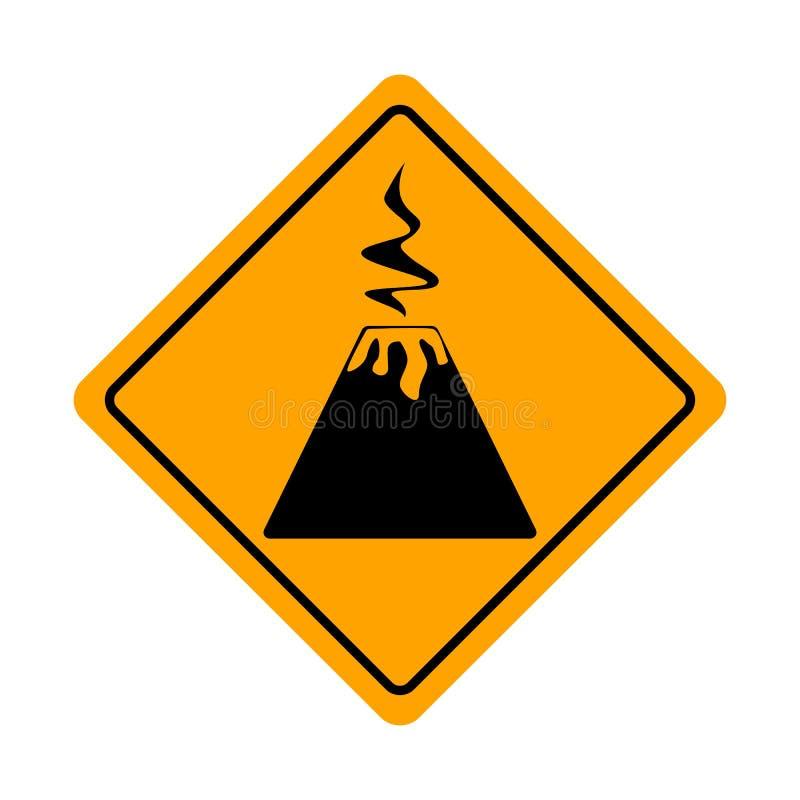 Le diamant jaune prennent garde du poteau de signalisation de volcan d'isolement sur un fond blanc Bord de volcan Panneaux routie illustration libre de droits