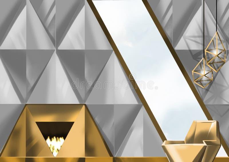Le diamant a modelé des murs avec la cheminée et le fauteuil, peinture d'illustration photo stock