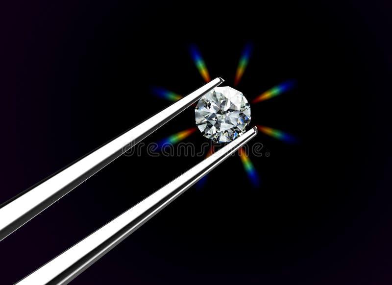 Le diamant s'est retenu par des brucelles illustration de vecteur