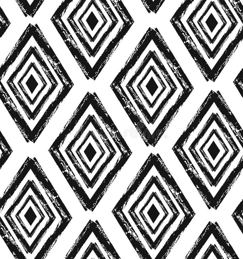 Le diamant sans couture tiré par la main forme le modèle en noir et crème Textile moderne, art de mur, papier d'emballage, papier illustration libre de droits