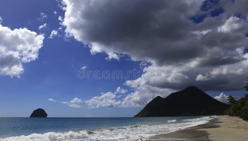 Le Diamant strand, Martinique arkivfoton