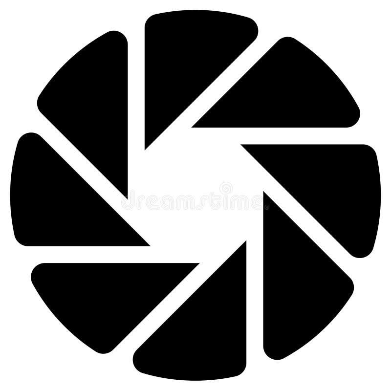Le diaphragme aiment le symbole circulaire pour la photographie, technologie, gène illustration de vecteur
