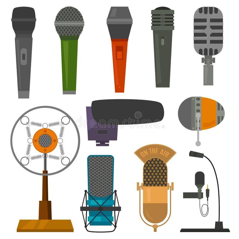 Le dictaphone et les microphones audio de vecteur de microphone pour le podcast annoncent ou les illustrations réglés de radiodif illustration stock