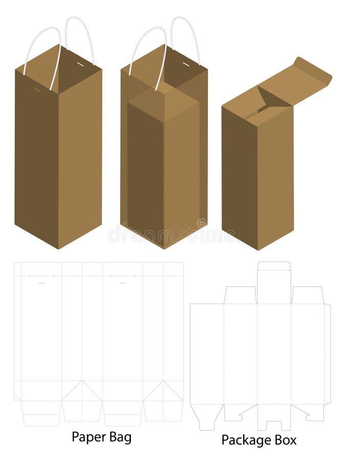 Le dieline de boîte et de sac pour la bouteille empaquettent la maquette illustration de vecteur