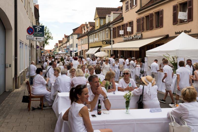 Le Diner En Blanc - das weiße Abendessen stockfotografie