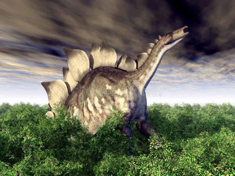 le dinosaur du découpage 3d au-dessus du chemin rendent le stegosaurus d'ombre blanc illustration stock