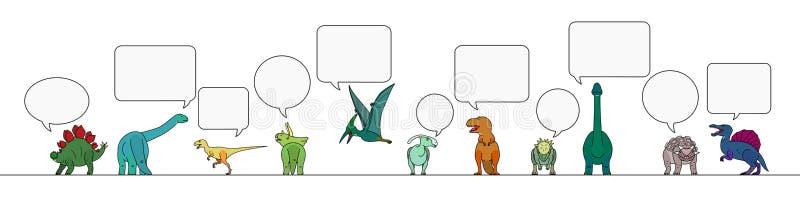 Le dinosaure coloré avec la parole bouillonne frontière illustration libre de droits