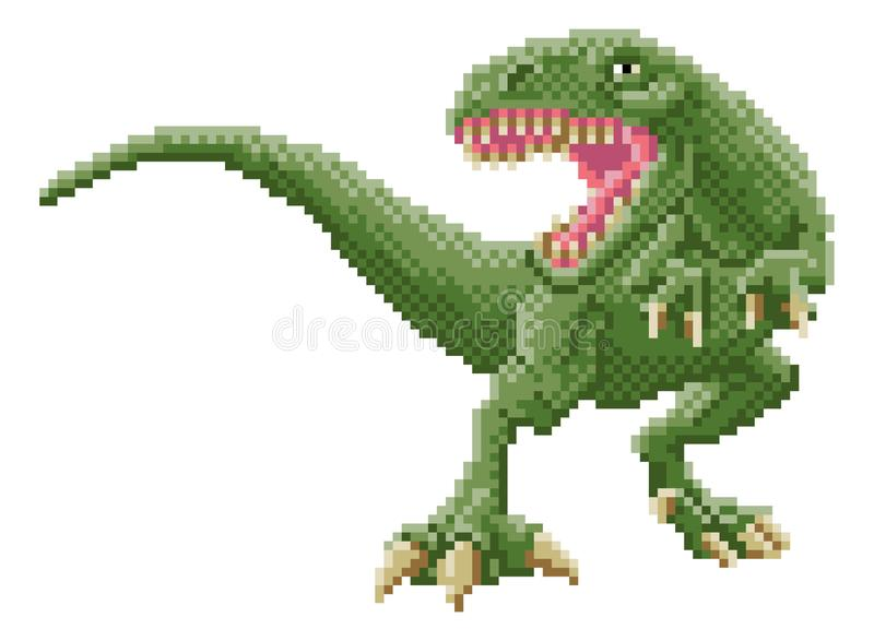 Le dinosaure Trex 8 a mordu le pixel Art Arcade Game Cartoon illustration stock