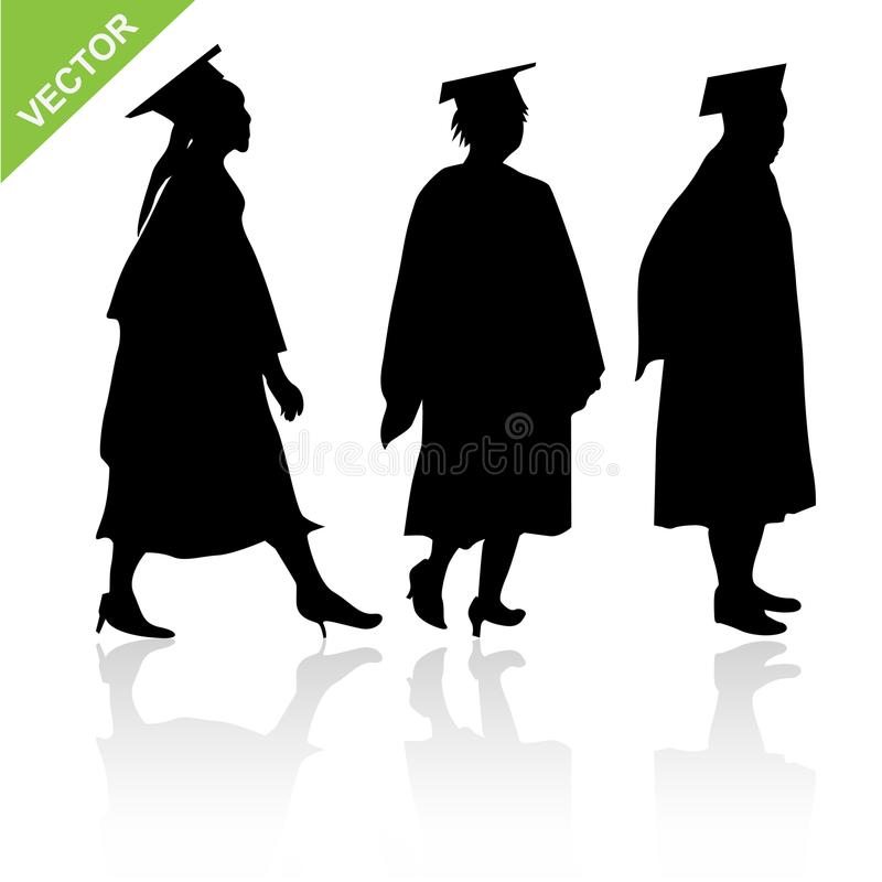 Le diplômé silhouette le vecteur illustration stock