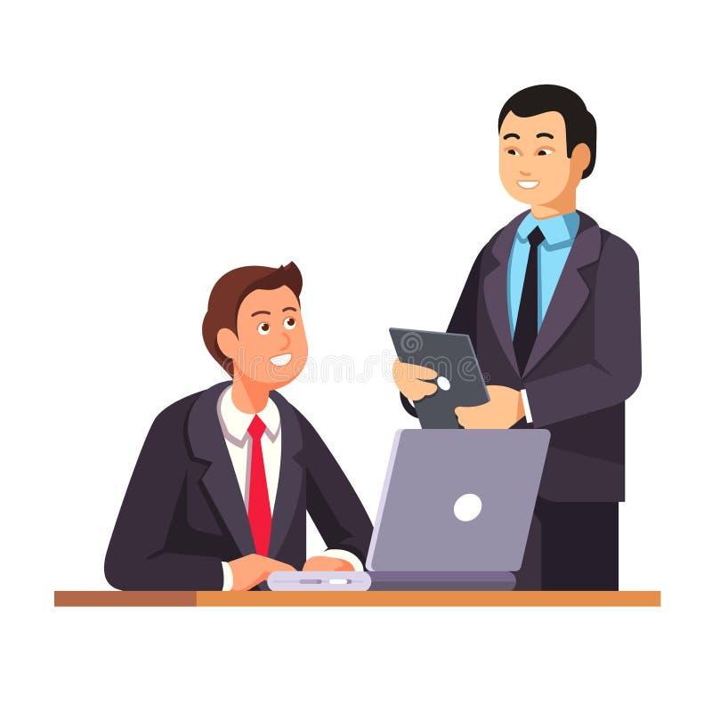 Le directeur asiatique d'heure souhaite la bienvenue au nouvel employé illustration libre de droits