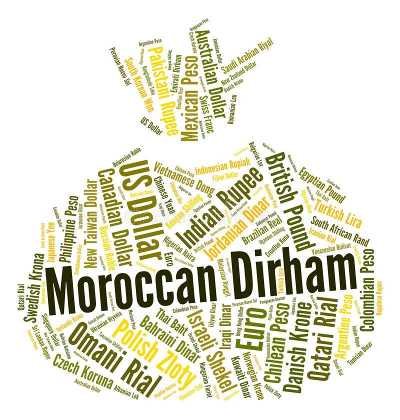Le dirham marocain montre de devises étrangères et des dirhams illustration de vecteur