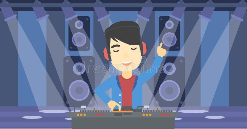 Le discjockeyn som blandar musik på skivtallrikar vektor illustrationer