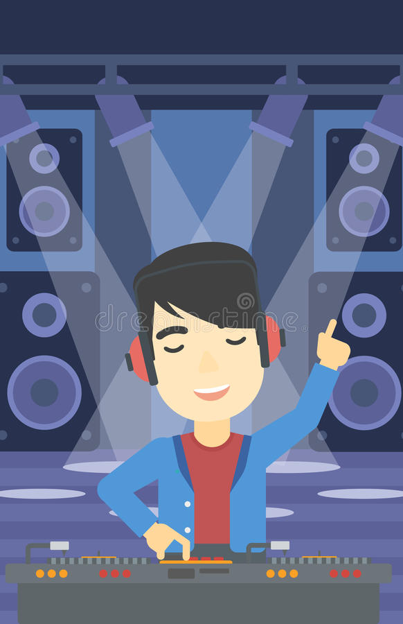 Le discjockeyn som blandar musik på skivtallrikar stock illustrationer