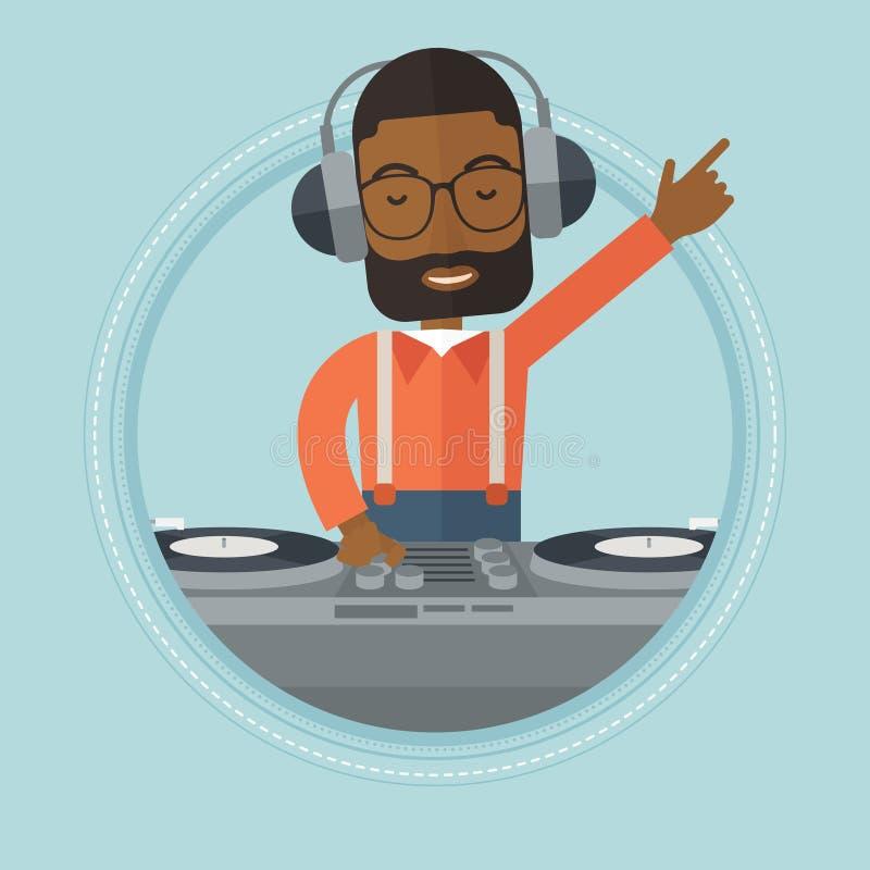 Le discjockeyn som blandar musik på skivtallrikar royaltyfri illustrationer