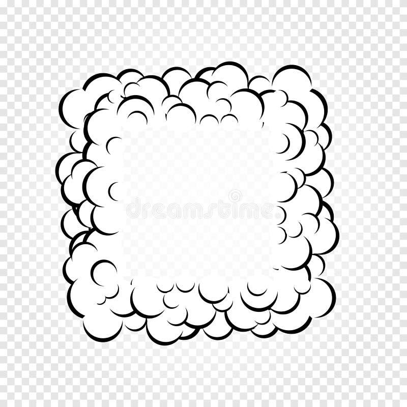 Le discours d'isolement de bande dessinée bouillonne, des cadres de fumée ou la vapeur, bandes dessinées dialoguent le nuage, ill illustration de vecteur