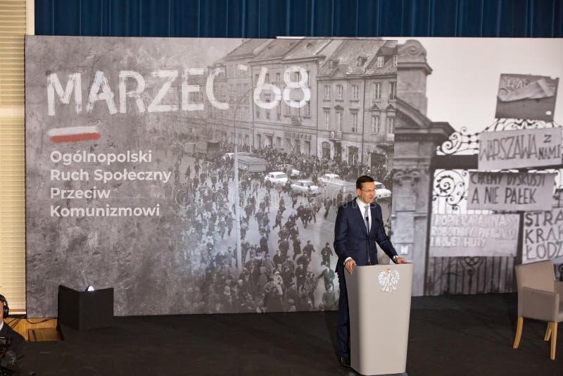 Le discours du président du Conseil des ministres de la République de la Pologne - le Mateusz Morawiecki photos libres de droits