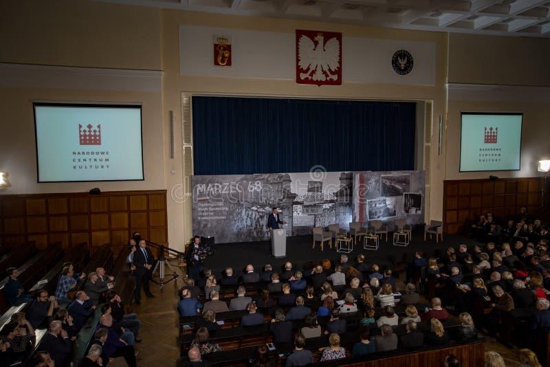 Le discours du président du Conseil des ministres de la République de la Pologne - le Mateusz Morawiecki photo stock