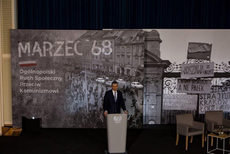 Le discours du président du Conseil des ministres de la République de la Pologne - le Mateusz Morawiecki photo libre de droits