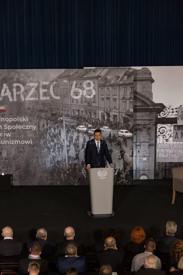 Le discours du président du Conseil des ministres de la République de la Pologne - le Mateusz Morawiecki photos stock