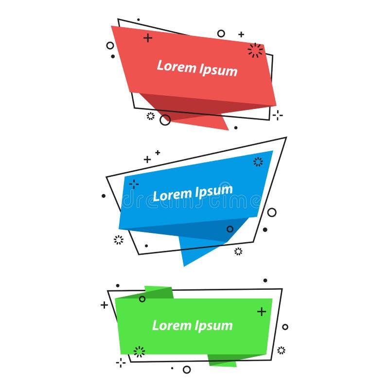 Le discours géométrique bouillonne, les bannières, autocollants dans le style d'origami illustration stock