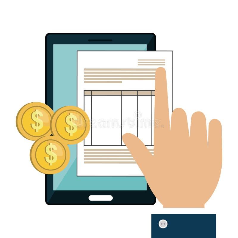 Download Le Dispositif De Smartphone Avec Des Documents A Isolé L'icône Illustration de Vecteur - Illustration du argent, téléphone: 87704236