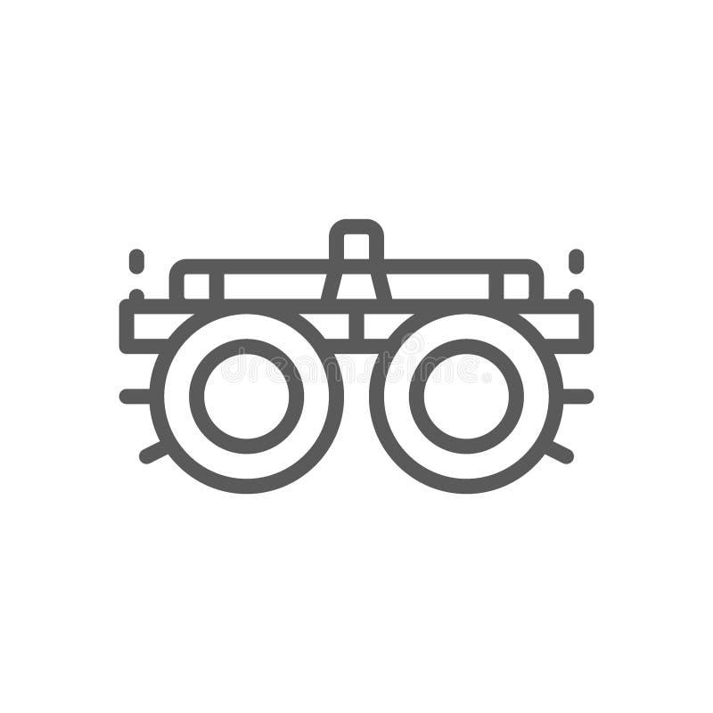 Le dispositif pour des verres de sélection, verres, dioptries rayent l'icône illustration de vecteur