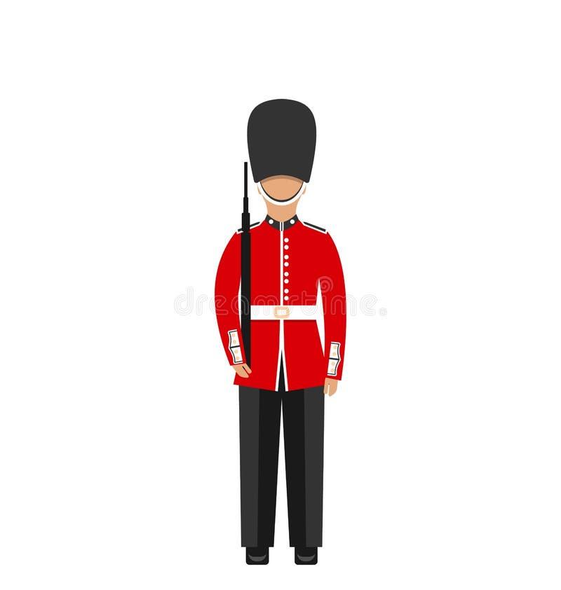 Le dispositif protecteur de la Reine Homme dans l'uniforme traditionnel avec l'arme, soldat britannique illustration stock