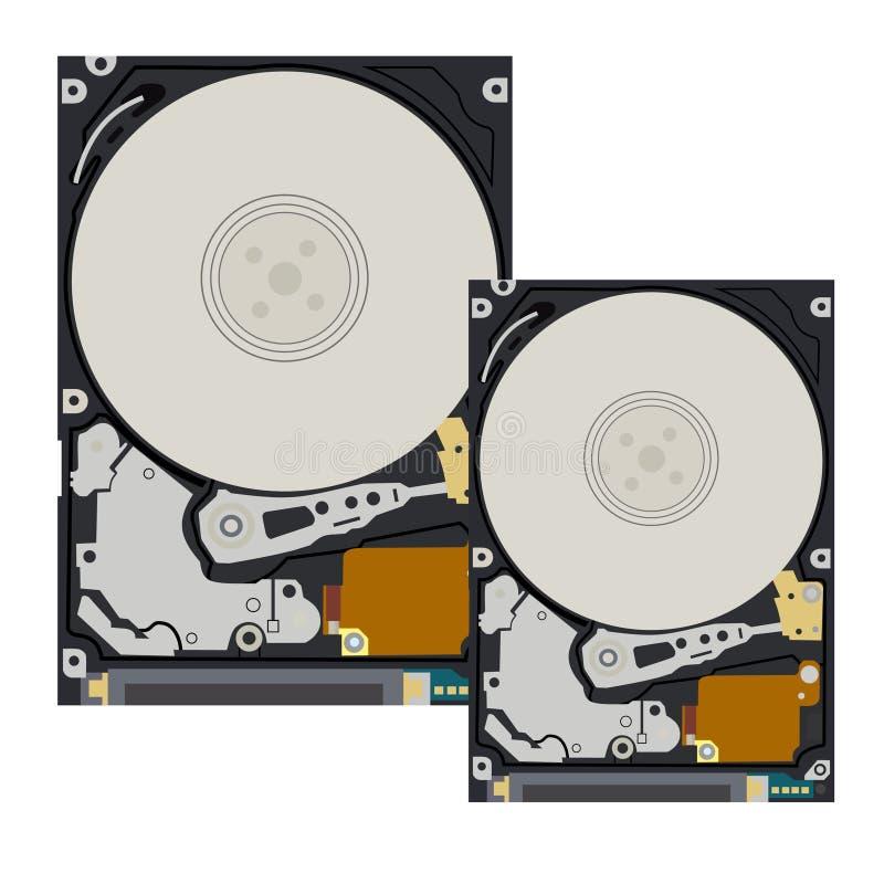 Le disque dur de l'ordinateur et du carnet sur le fond blanc illustration libre de droits