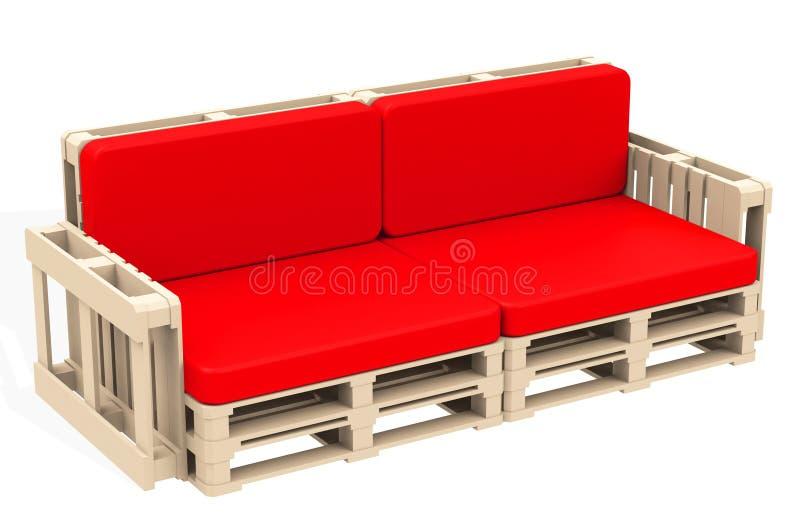 Le divan rouge illustration de vecteur