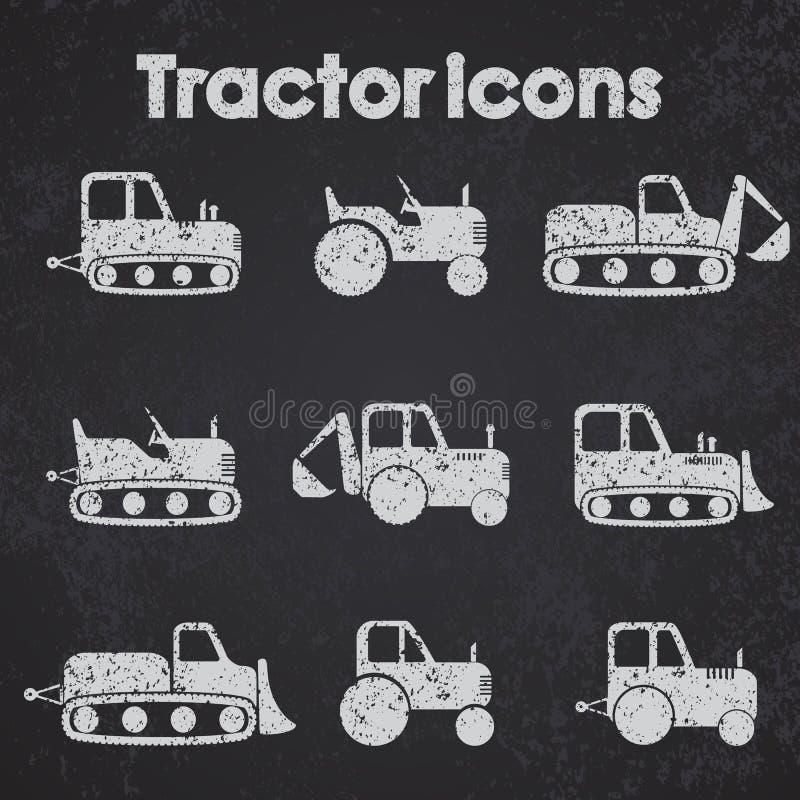 Le divers tableau noir réglé d'icône de machines de tracteur et de construction a stylisé illustration de vecteur