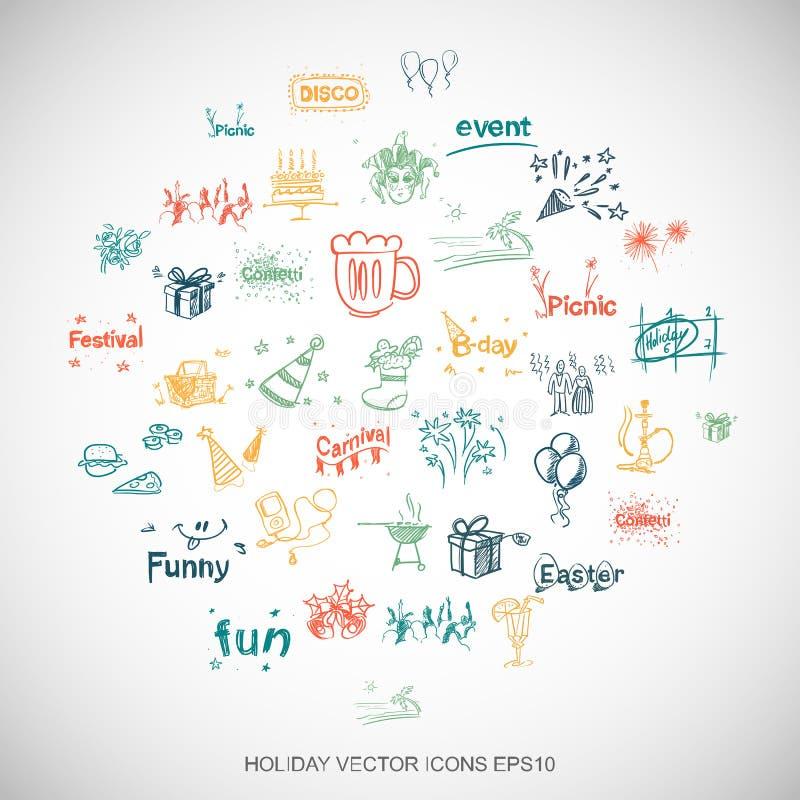 Le divertissement, les icônes tirées par la main de vacances de griffonnages multicolores a placé sur le blanc Illustration du ve illustration stock