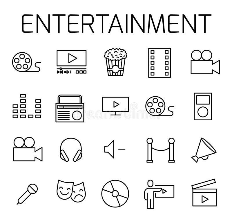 Le divertissement a rapporté l'ensemble d'icône de vecteur illustration stock